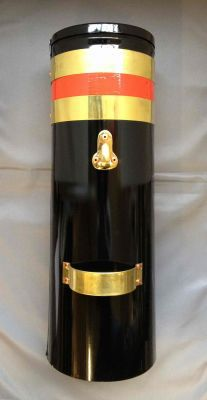 "18"" Double skin chimney with two brass bands and red stripe"