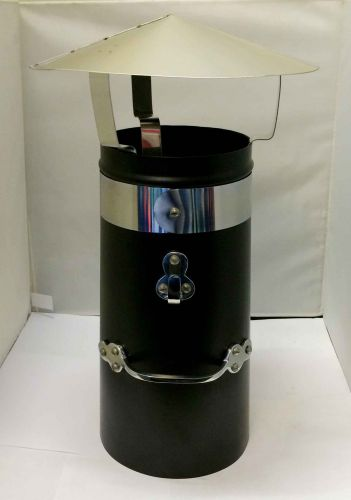 "12"" Double skin chimney with chrome band and stainless coolie hat"
