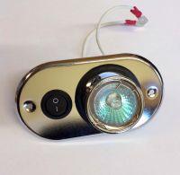 12v Switched halogen oval light - Brushed steel