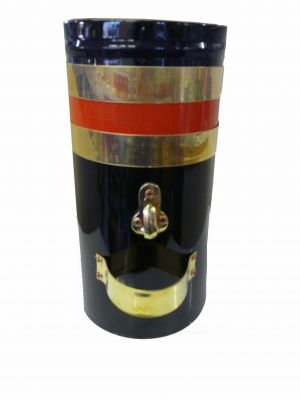 "12"" Double skin chimney with two brass bands and red stripe"